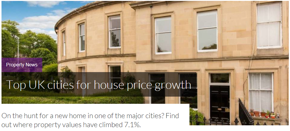 Top UK cities for house price growth